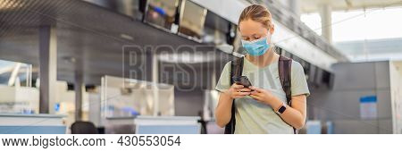 Banner, Long Format Woman In Mask At Empty Airport At Check In In Coronavirus Quarantine Isolation,