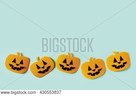 Kids Halloween Handmade Paper Pumpkins, Creative, Craft Concept On Blue Background, Top View, Copy S