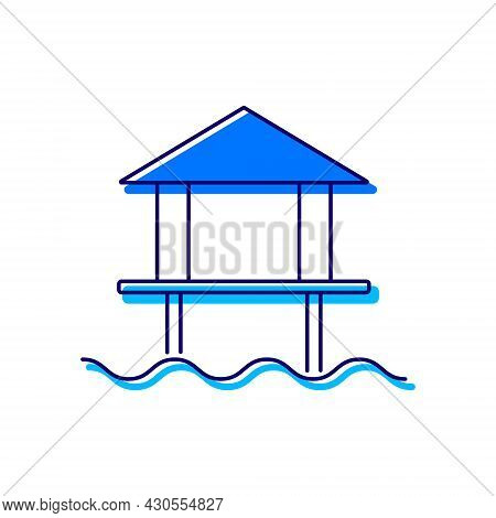 Water Bungalow Outline Icon. Maldives Attraction. Coral Island. Tropical Resort. Isolated Vector Sto