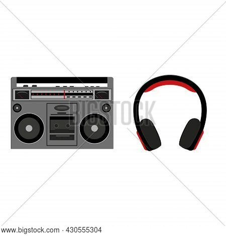 Tape Recorder And Headphones Isolated On A White Background In The Cartoon Style.
