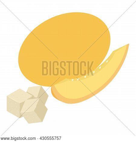 Sweet Melon Icon Isometric Vector. Fresh Ripe Juicy Yellow Melon And Sugar Cube. Vegetarian Food, De