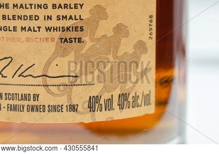 London, United Kingdom - January 27, 2021 Bottle  Of Monkey Shoulder, Blended In Small Batches  Of S