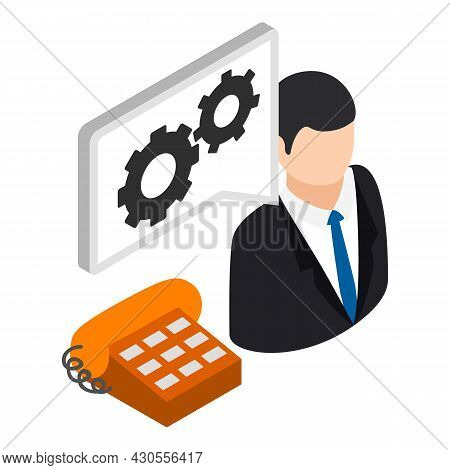 Technical Support Icon Isometric Vector. Male Consultant And Landline Telephone. Virtual Technical S