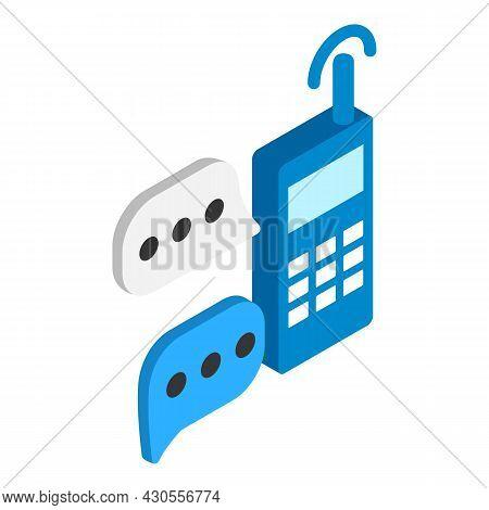 Radio Communication Icon Isometric Vector. Handheld Walkie Talkie, Speech Bubble. Portable Radio, Co