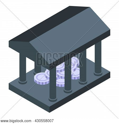 Bank Coin Reserves Icon Isometric Vector. Money Stack. Cash Debt