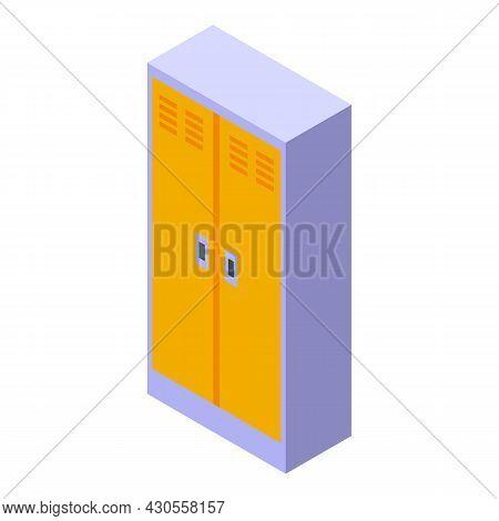 Gym Locker Icon Isometric Vector. Open Room. School Storage