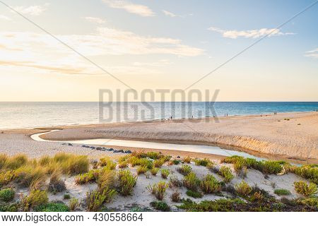 O'sullivan Beach View With People At Sunset Viewed From The Esplanade, South Australia