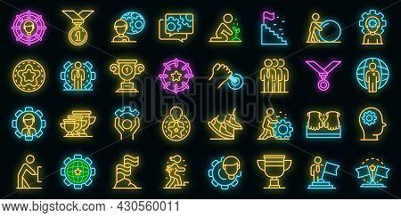 Effort Icons Set. Outline Set Of Effort Vector Icons Neon Color On Black