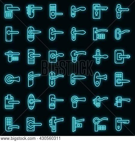 Door Handles Icons Set. Outline Set Of Door Handles Vector Icons Neon Color On Black