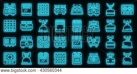 Burning Gas Stove Icons Set. Outline Set Of Burning Gas Stove Vector Icons Neon Color On Black