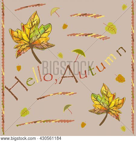 Maple Leaves On A Beige Background With An Inscription For The Decoration Of Posters And Photos.