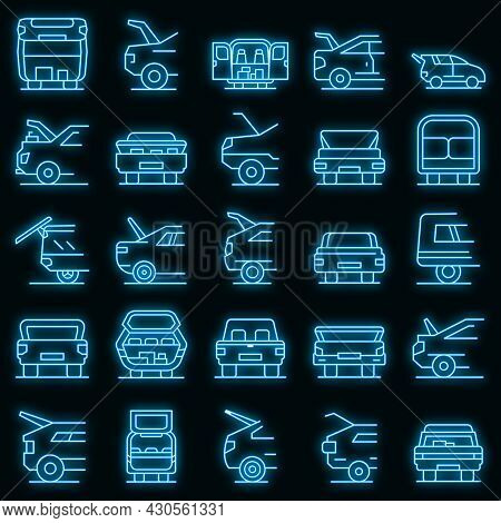 Trunk Car Icons Set. Outline Set Of Trunk Car Vector Icons Neon Color On Black