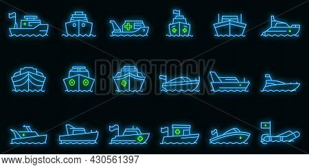 Rescue Boat Icons Set. Outline Set Of Rescue Boat Vector Icons Neon Color On Black