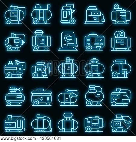 Compressor Icons Set. Outline Set Of Compressor Vector Icons Neon Color On Black