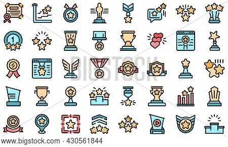 Ranking Icon. Outline Set Of Ranking Vector Icon Thin Line Color Flat On White