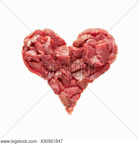 The Heart Is Made From Raw Meat Isolate. Beef In The Shape Of A Heart, Symbolizes Heart Disease, Ove