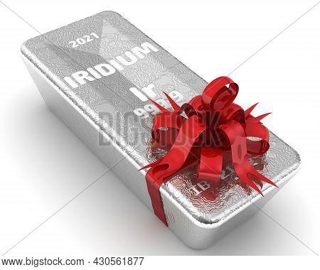 Iridium Ingot Of The Highest Standard As A Gift. One Ingot Of 999.9 Fine Iridium Tied With A Red Rib