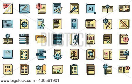 Technical Document Icons Set. Outline Set Of Technical Document Vector Icons Thin Line Color Flat On
