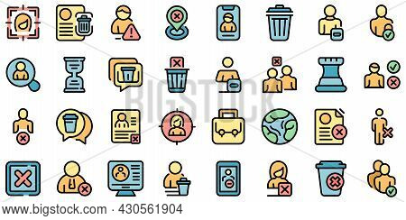 Delete User Icons Set. Outline Set Of Delete User Vector Icons Thin Line Color Flat On White