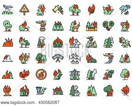 Burning Forest Icons Set. Outline Set Of Burning Forest Vector Icons Thin Line Color Flat On White