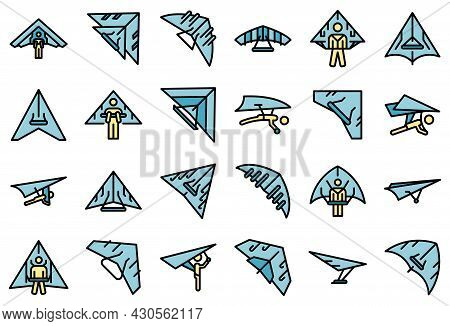 Hang Glider Icon. Outline Hang Glider Vector Icon Thin Line Color Flat On White