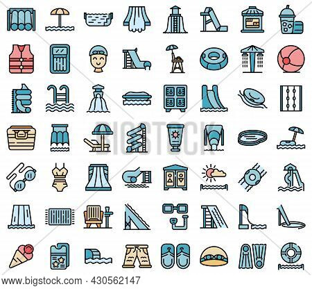 Water Park Icons Set. Outline Set Of Water Park Vector Icons Thin Line Color Flat On White