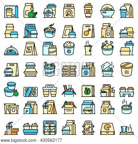 Takeaway Food Icon. Outline Takeaway Food Vector Icon Thin Line Color Flat On White