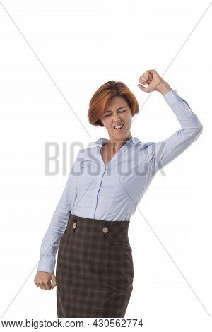Business Woman Excited Hold Fist Hand Up Raised Arm, Surprised Happy Smile Business Woman Isolated O