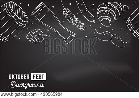 Oktoberfest Seamless Pattern On The Chalkboard. Vector Illustration. Oktoberfest Holiday Background