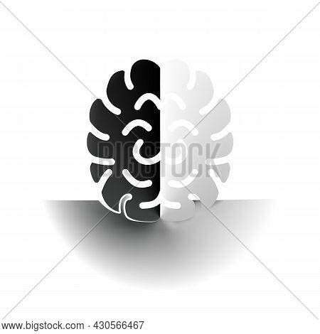 Brain Abstract Minimal Composition, Contrast White Or Black. Concept Light Or Dark Idea. Delicate Nu