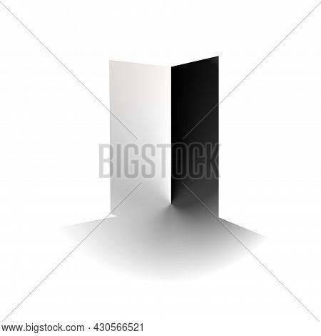 Abstract Open Door, Contrast Minimal White And Black. Concept Entrance, Opens Gradient . Delicate Su
