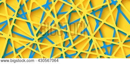 3d Realistic Backdrop With Cut Out Yellow And Blue Color Stripes Entangled Web. Abstract Background