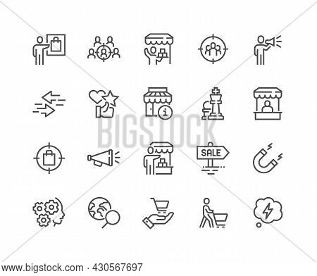Simple Set Of Marketing Strategy Related Vector Line Icons. Contains Such Icons As Product Presentat