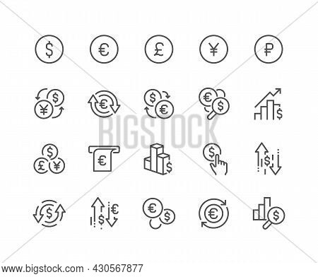 Simple Set Of Currency Related Vector Line Icons. Contains Such Icons As Exchange Rate, Currency For