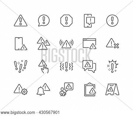 Simple Set Of Warnings Related Vector Line Icons. Contains Such Icons As Alert, Exclamation Mark, Wa
