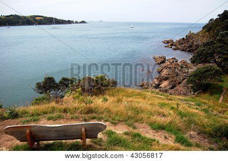 Timber Bench Sea Bay View