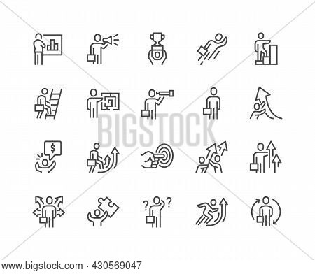 Simple Set Of Business People Related Vector Line Icons. Contains Such Icons As New Course, Confused