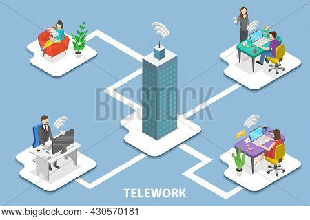 3d Isometric Flat Vector Conceptual Illustration Of Telework, Remote Work And Global Outsourcing