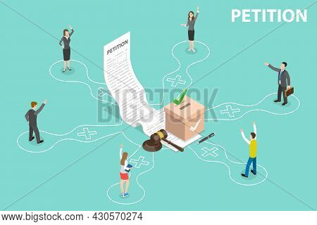 3d Isometric Flat Vector Conceptual Illustration Of Petition, Collective Public Appeal Document
