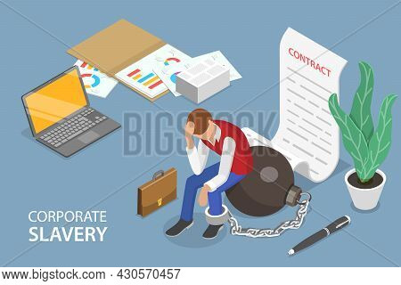 3d Isometric Flat Vector Conceptual Illustration Of Corporate Slavery, Forced Or Compulsory Labour