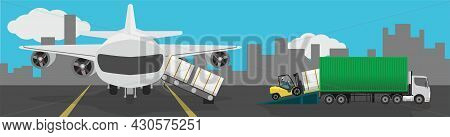 Transportation Of Conveying And Unloading Goods. Containers That Slide Down From The Aircraft Along