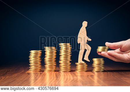 Economic Growth Stimulus In Post-covid-19 Era. Concept With Coins, Person Rising On Coins And Helpin