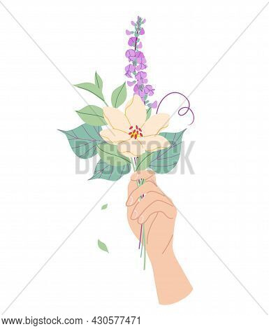 Female Hand Holding Tender Bouquet Of Flowers. Simple Woman Hand With Delicate Plants Isolated On Wh