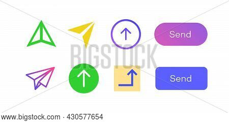 Send Icon Arrow Vector Set Color Style Isolated On Background For Phone, Website. Email Interface, M