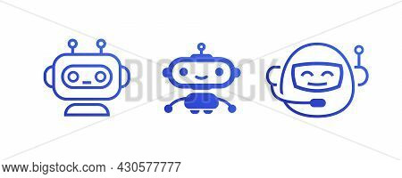 Chat Bot Icon, Robot Symbol Vector Set Isolated On White Background For Virtual Assistant Icon, Talk