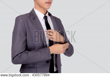 Closeup Young Asian Businessman In Suit Smiling With Confident And Friendly Isolated On White Backgr