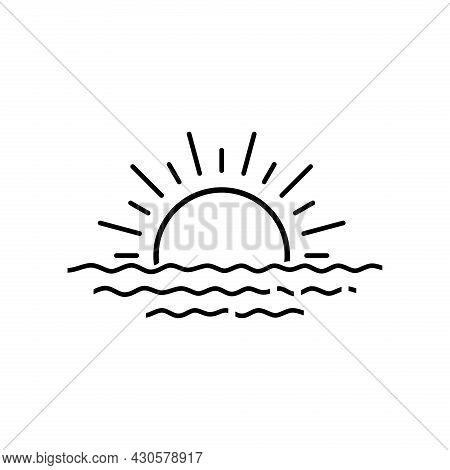 Sunrise Or Sunset Icon Vector Design Illustration. Sunset Icon Isolated On White Background. Sunrise