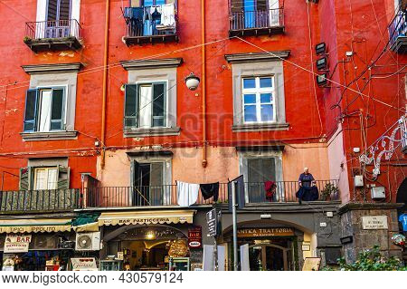 Naples, Italy - January 19, 2017: Street Scene In The Historical District Of The Naples, The Regiona