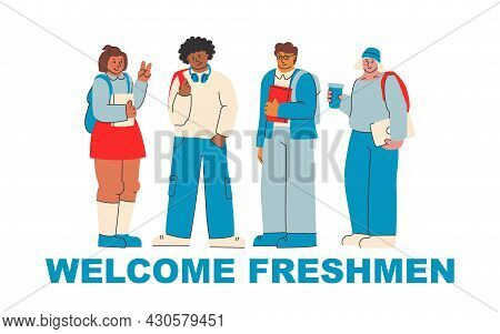 Welcome Freshmen. Cute Illustration For Greeting New College And University Students. Students With