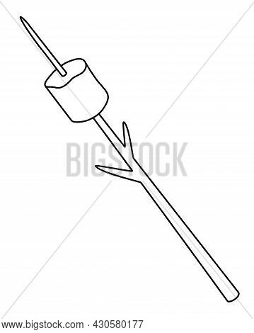 Marshmallows On A Stick For Frying On A Fire - Vector Linear Illustration For Coloring. Outline. Mar